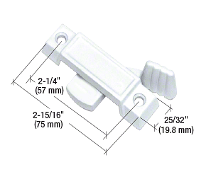"""CRL White Sliding Window Lock with 2-1/4"""" Screw Holes and 3/8"""" Latch Projection CRL F2590"""