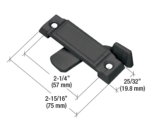 """CRL Black Sliding Window Lock with 2-1/4"""" Screw Holes and 5/8"""" Latch Projection CRL F2591"""
