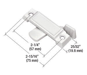 """CRL White Sliding Window Lock with 2-1/4"""" Screw Holes and 1/2"""" Latch Projection CRL F2592"""