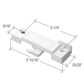 """CRL White Sliding Window Lock with 2-1/4"""" Screw Holes for Guaranteed Products Windows CRL F2594"""
