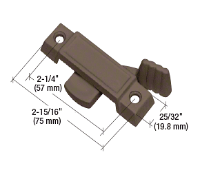 """CRL Bronze Sliding Window Lock with 2-1/4"""" Screw Holes and 3/8"""" Latch Projection CRL F2596"""