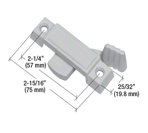"""CRL Gray Sliding Window Lock with 2-1/4"""" Screw Holes and 3/8"""" Latch Projection CRL F2659"""