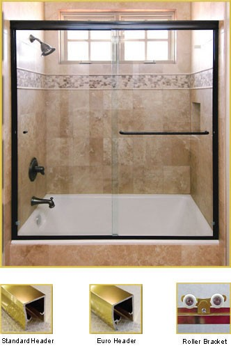 FL20 Frameless Double Sliding Glass Shower Doors - Shower Head on Left
