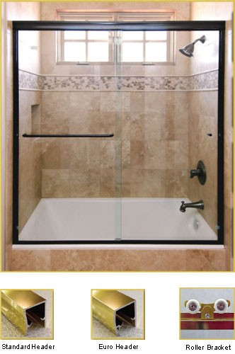 FL20 Frameless Double Sliding Glass Shower Doors - Shower Head on Right