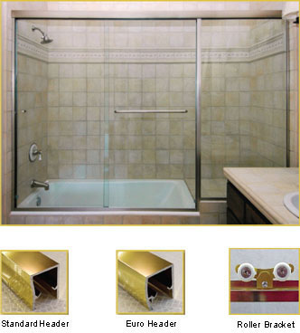 FL21 Frameless Double Sliding Glass Shower Doors with In-Line Panel - Shower Head on Left