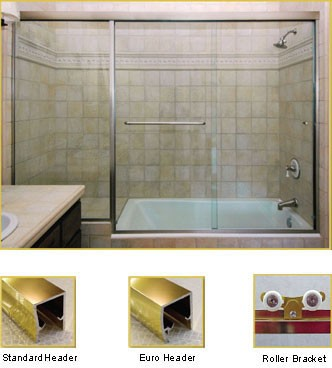 FL21 Frameless Double Sliding Glass Shower Doors with In-Line Panel - Shower Head on Right