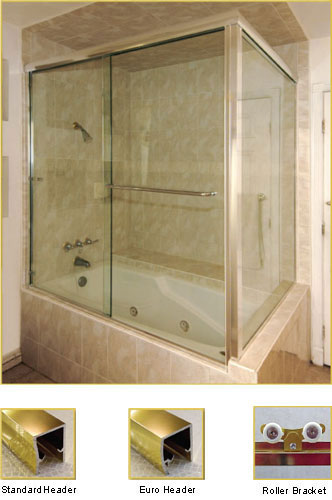 FL22 Frameless Double Sliding Glass Shower Doors with 90 Degree Return Panel - Shower Head on Left