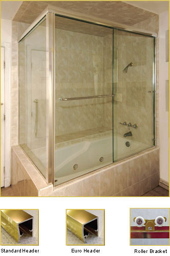 FL22 Frameless Double Sliding Glass Shower Doors with 90 Degree Return Panel - Shower Head on Right
