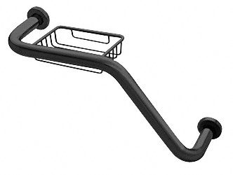 "CRL Black 20"" 135 Degree Grab Bar With Wire Basket CRL GB535BL"