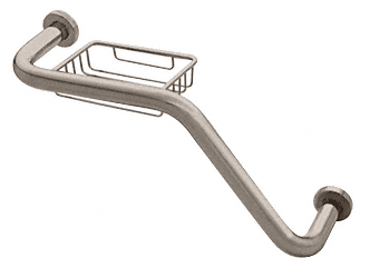 "CRL Brushed Nickel 20"" 135 Degree Grab Bar With Wire Basket CRL GB535BN"