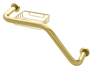 "CRL Polished Brass 20"" 135 Degree Grab Bar With Wire Basket CRL GB535BR"