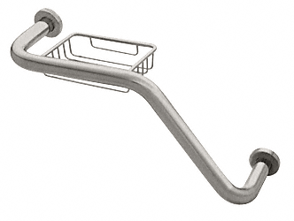 "CRL Brushed Satin Chrome 20"" 135 Degree Grab Bar With Wire Basket CRL GB535BSC"