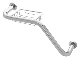 "CRL Polished Chrome 20"" 135 Degree Grab Bar With Wire Basket CRL GB535CH"