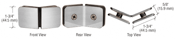 CRL Brushed Satin Chrome 135 Degree Traditional Style Glass Clamp CRL GCB135BSC