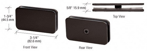 Oil Rubbed Bronze Traditional 180 Degree Glass Clamp - CRL GCB180ORB