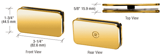 CRL Polished Brass 180 Degree Traditional Style Glass-to-Glass Clamp CRL GCB180BR