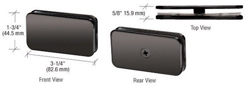 Gun Metal Traditional 180 Degree Glass Clamp - CRL GCB180GM