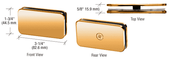 CRL Gold Plated 180 Degree Traditional Style Glass Clamp CRL GCB180GP