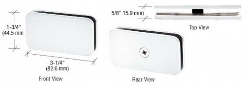 White Traditional 180 Degree Glass Clamp - CRL GCB180W