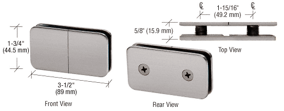 CRL Brushed Nickel 180 Degree Traditional Style Split Face and 'Y' Inline Glass Clamp CRL GCB182BN