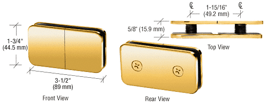 CRL Polished Brass 180 Degree Traditional Style Split Face and 'Y' Inline Glass Clamp CRL GCB182BR