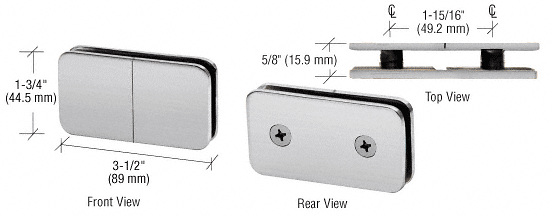 CRL Brushed Satin Chrome 180 Degree Traditional Style Split Face and 'Y' Inline Glass Clamp CRL GCB182BSC