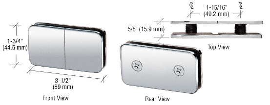 CRL Polished Chrome 180 Degree Traditional Style Split Face and 'Y' Inline Glass-to-Glass Clamp CRL GCB182CH