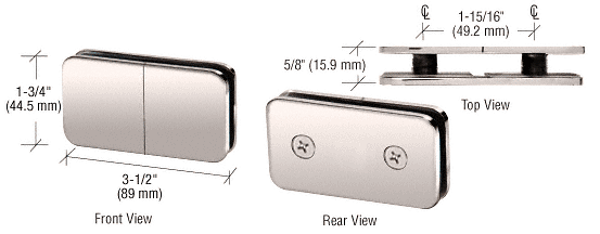 CRL Polished Nickel 180 Degree Traditional Style Split Face and 'Y' Inline Glass Clamp CRL GCB182PN