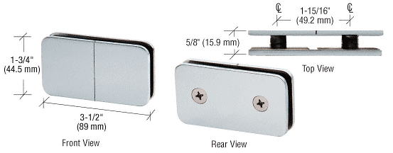 CRL Satin Chrome 180 Degree Traditional Style Split Face and 'Y' Inline Glass Clamp CRL GCB182SC