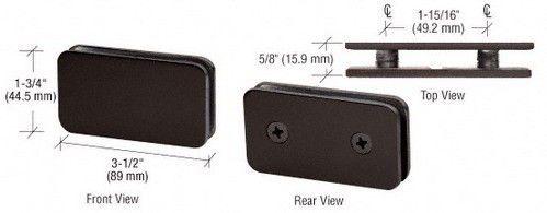 Oil Rubbed Bronze Traditional 180 Degrees Double Stud Glass Clamp - CRL GCB184ORB