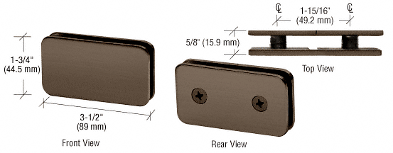 CRL Brushed Bronze 180 Degree Traditional Style Double Stud Glass Clamp CRL GCB184BBRZ