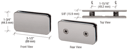 CRL Brushed Nickel 180 Degree Traditional Style Double Stud Glass Clamp CRL GCB184BN