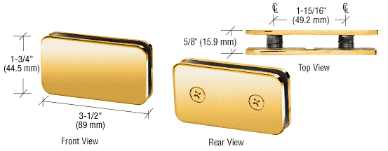 CRL Polished Brass 180 Degree Traditional Style Double Stud Glass-to-Glass Clamp CRL GCB184BR
