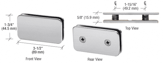 CRL Brushed Satin Chrome 180 Degree Traditional Style Double Stud Glass Clamp CRL GCB184BSC