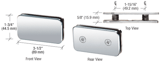 CRL Polished Chrome 180 Degree Traditional Style Double Stud Glass-to-Glass Clamp CRL GCB184CH
