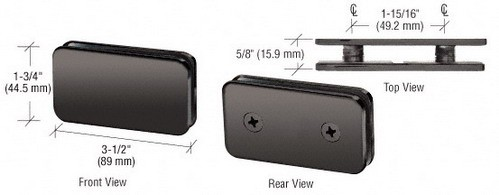 Gun Metal Traditional 180 Degrees Double Stud Glass Clamp - CRL GCB184GM