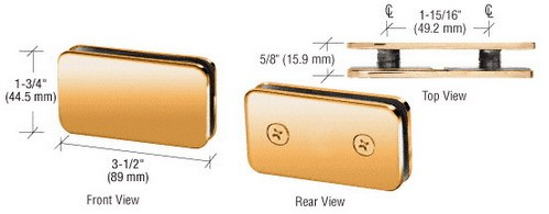 Gold Plated Traditional 180 Degrees Double Stud Glass Clamp - CRL GCB184GP