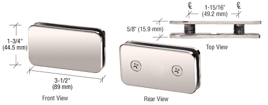 CRL Polished Nickel 180 Degree Traditional Style Double Stud Glass Clamp CRL GCB184PN