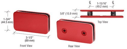 Red Traditional 180 Degrees Double Stud Glass Clamp - CRL GCB184RD