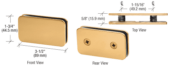 CRL Satin Brass 180 Degree Traditional Style Double Stud Glass Clamp CRL GCB184SB