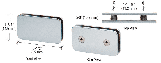 CRL Satin Chrome 180 Degree Traditional Style Double Stud Glass-to-Glass Clamp CRL GCB184SC