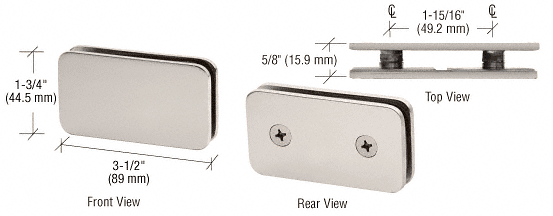 CRL Satin Nickel 180 Degree Traditional Style Double Stud Glass Clamp CRL GCB184SN