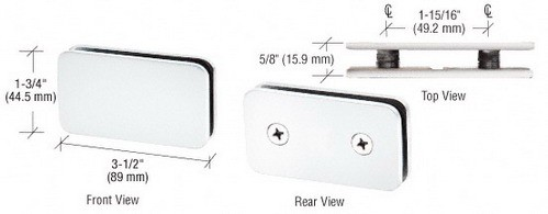 White Traditional 180 Degree Double Stud Glass Clamp - CRL GCB184W