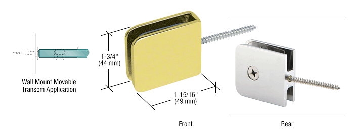 CRL Polished Brass Traditional Movable Wall Mounted Transom Glass Clamp CRL GCB186BR