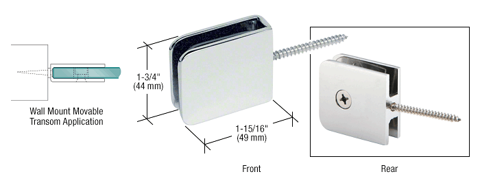 CRL Polished Chrome Traditional Movable Wall Mounted Transom Glass Clamp CRL GCB186CH