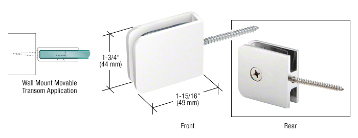 CRL White Traditional Movable Wall Mounted Transom Glass Clamp CRL GCB186W