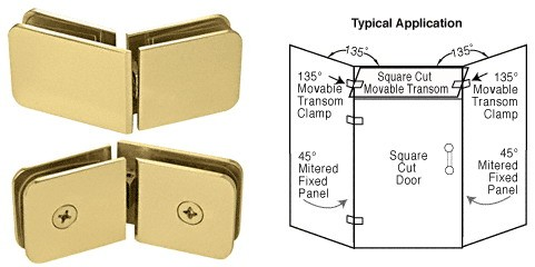 Gold Plated 135 Degrees Movable Transom Clamp - CRL GCB335GP