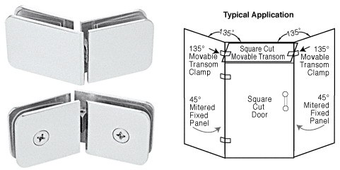 Satin Chrome 135 Degrees Movable Transom Clamp - CRL GCB335SC