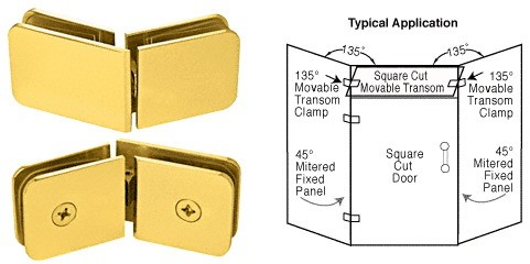 Satin Gold Plated 135 Degrees Movable Transom Clamp - CRL GCB335SGP