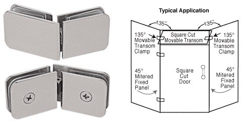 Satin Nickel 135 Degrees Movable Transom Clamp - CRL GCB335SN